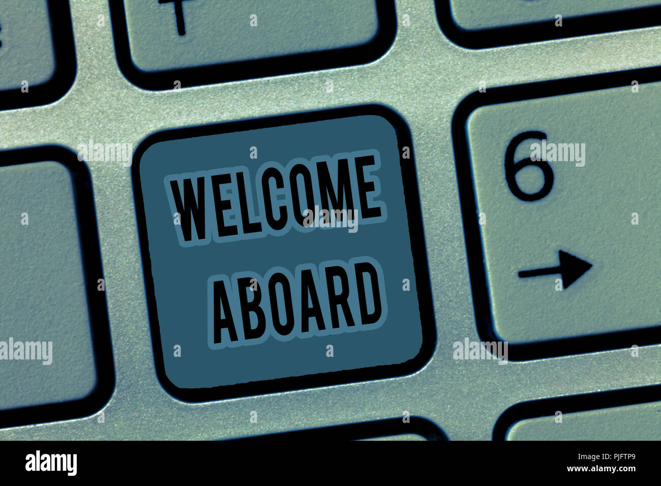 Handwriting Text Welcome Aboard Concept Meaning Expression Of