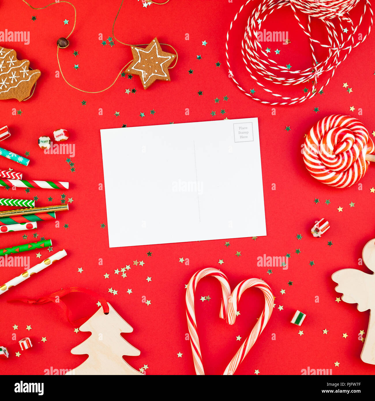 Creative New Year or Christmas greetings letter mockup flat lay top ...