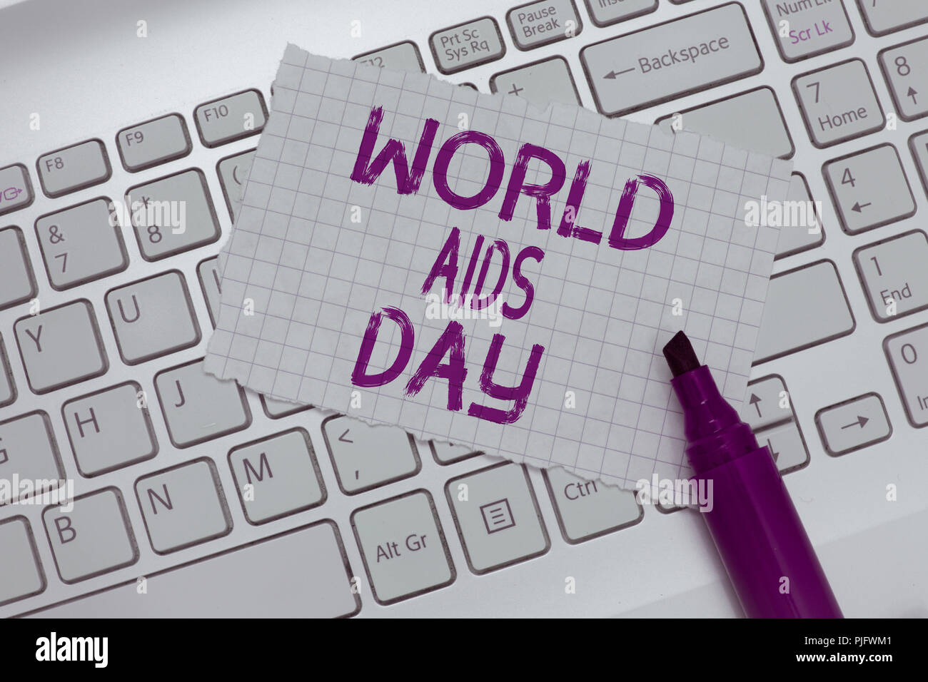 Conceptual hand writing showing World Aids Day. Business photo text 1st December dedicated to raising awareness of the AIDS. - Stock Image