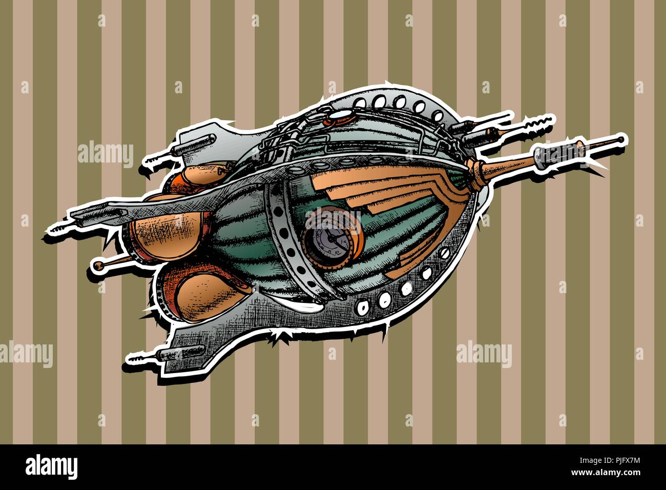 steampunk rocket. Vector illustration. Painted by hand - Stock Image
