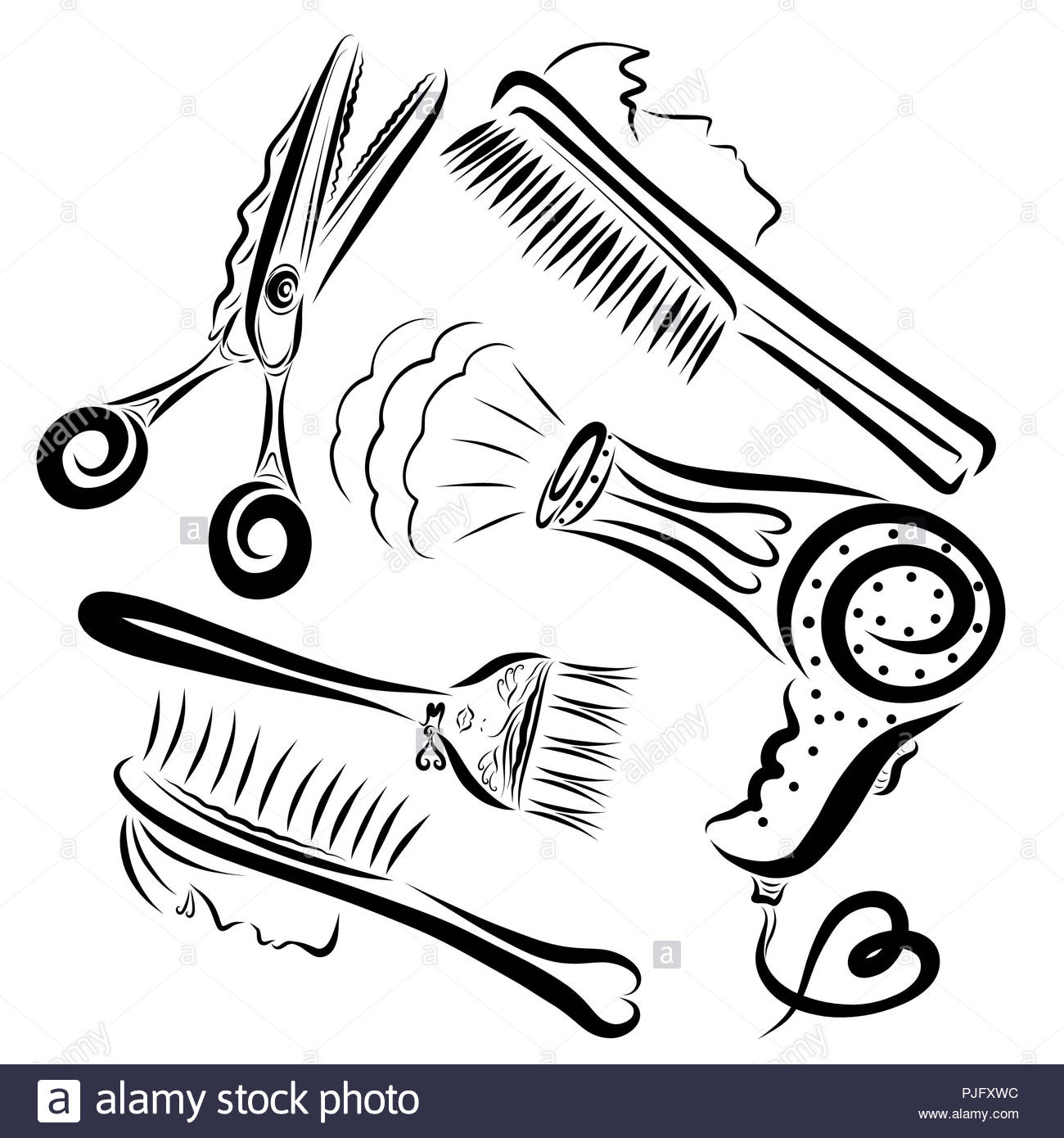 creative set of items for a hairdresser - Stock Image
