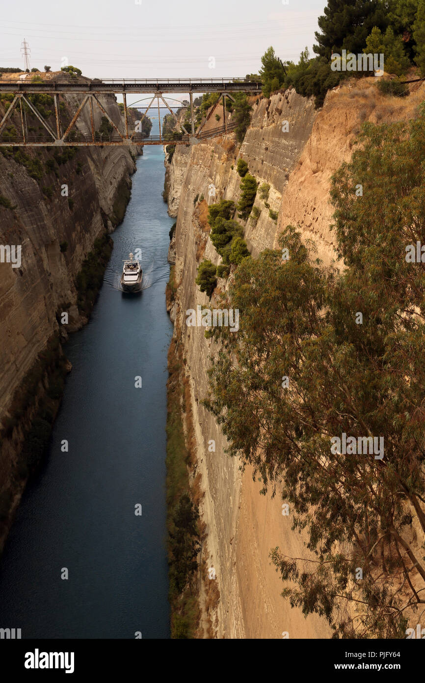 Peloponnese Greece Boat In Corinth Canal Stock Photo
