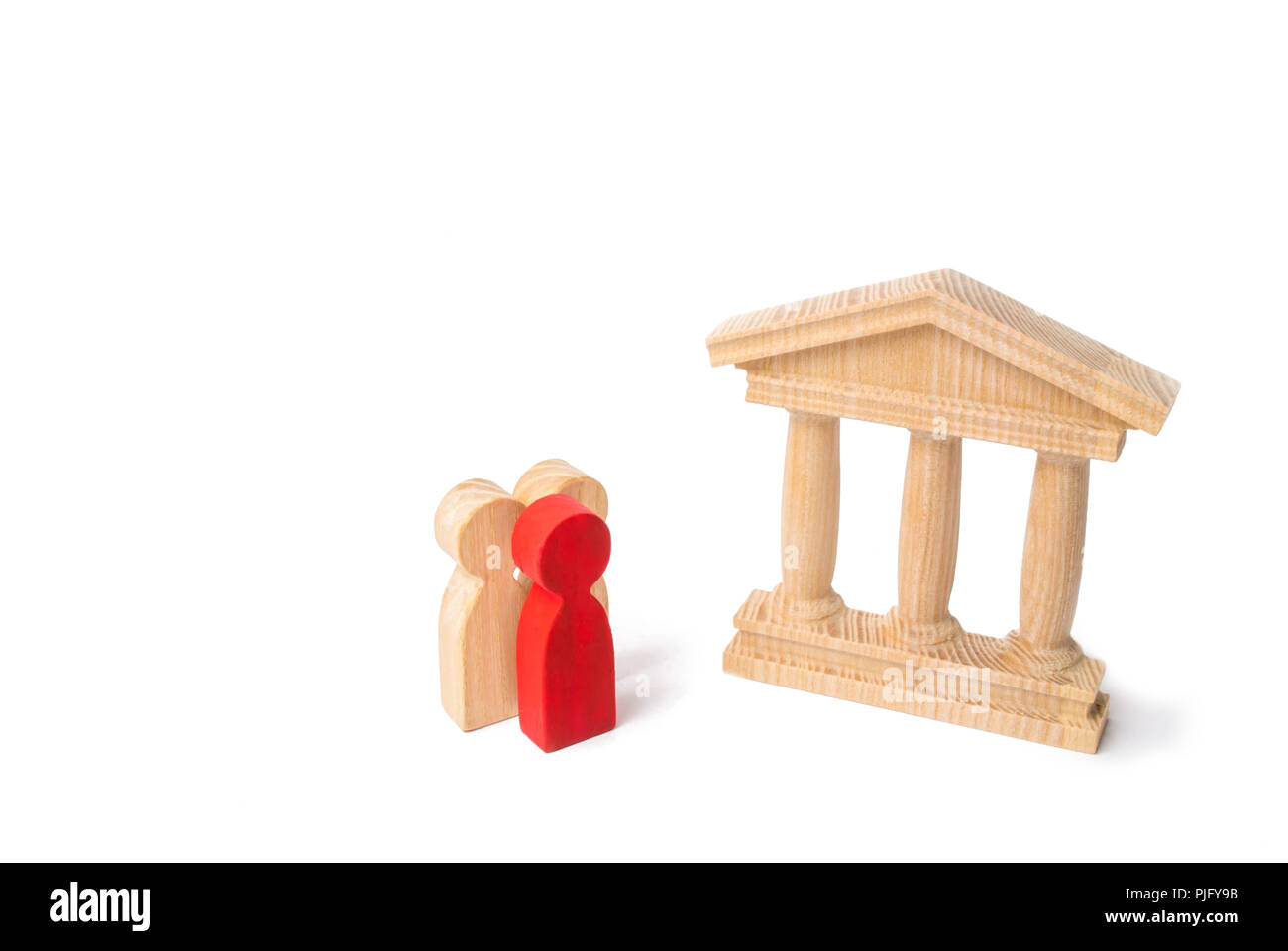Red man in the head of the group stand near a bank or government building. management, work in the banking sector. Tourists visit monuments of history - Stock Image