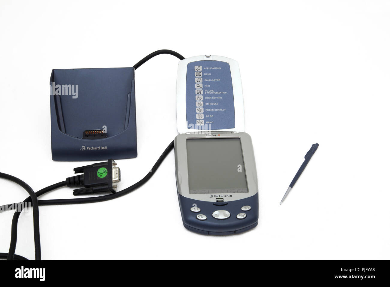 Packard Bell Easy Pad 100 PDA, Stylus and Charging Port - Stock Image