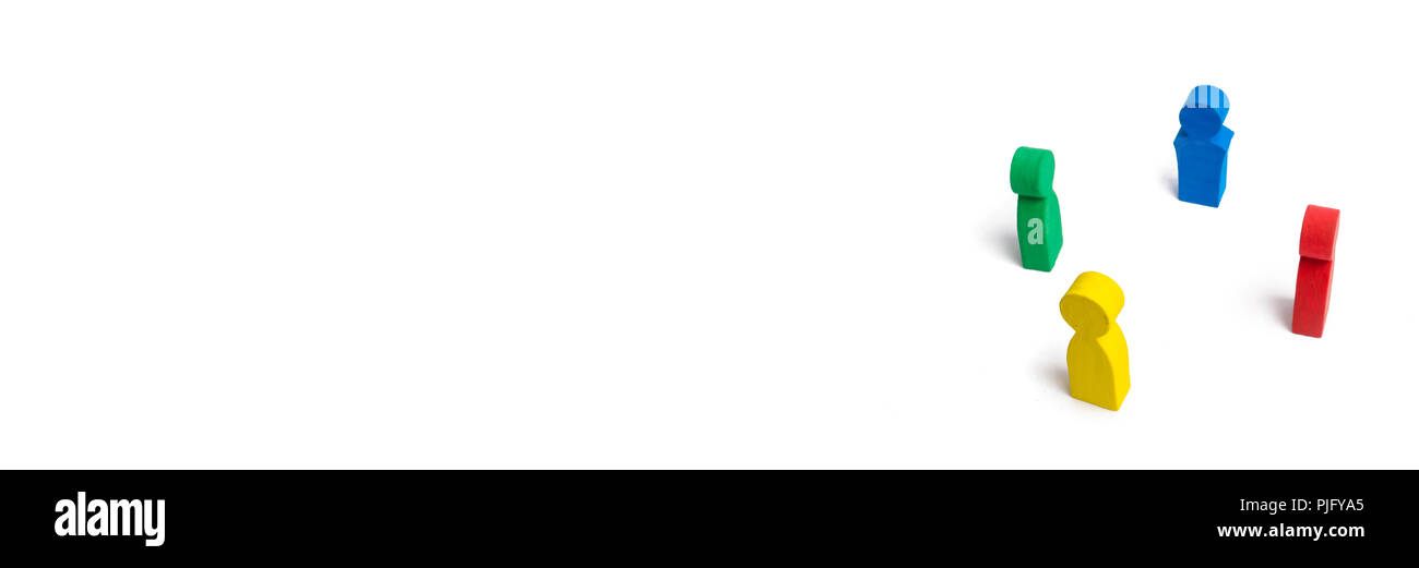 Multicolored people in a circle on a white background. concept of cooperation and teamwork. Difference and diversity of people. Work together, peace a - Stock Image