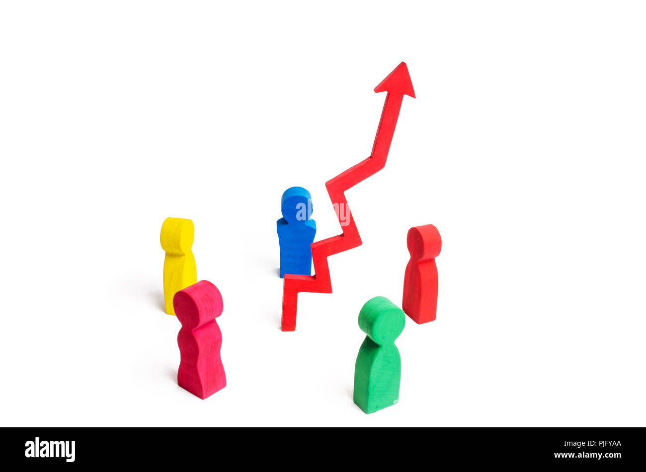 A multicolored group of people stands around the arrow up. Concept of business success. Increase sales and ranking, improve quality and efficiency. Wo - Stock Image
