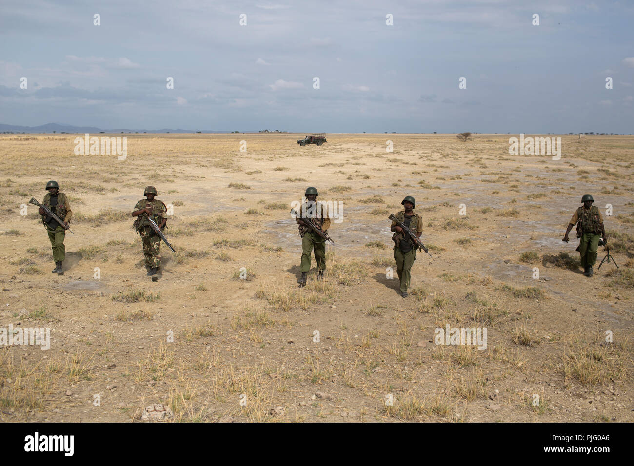 Kenyan soldiers patrol a region in Turkana, northern Kenya, November 5, 2012 Stock Photo