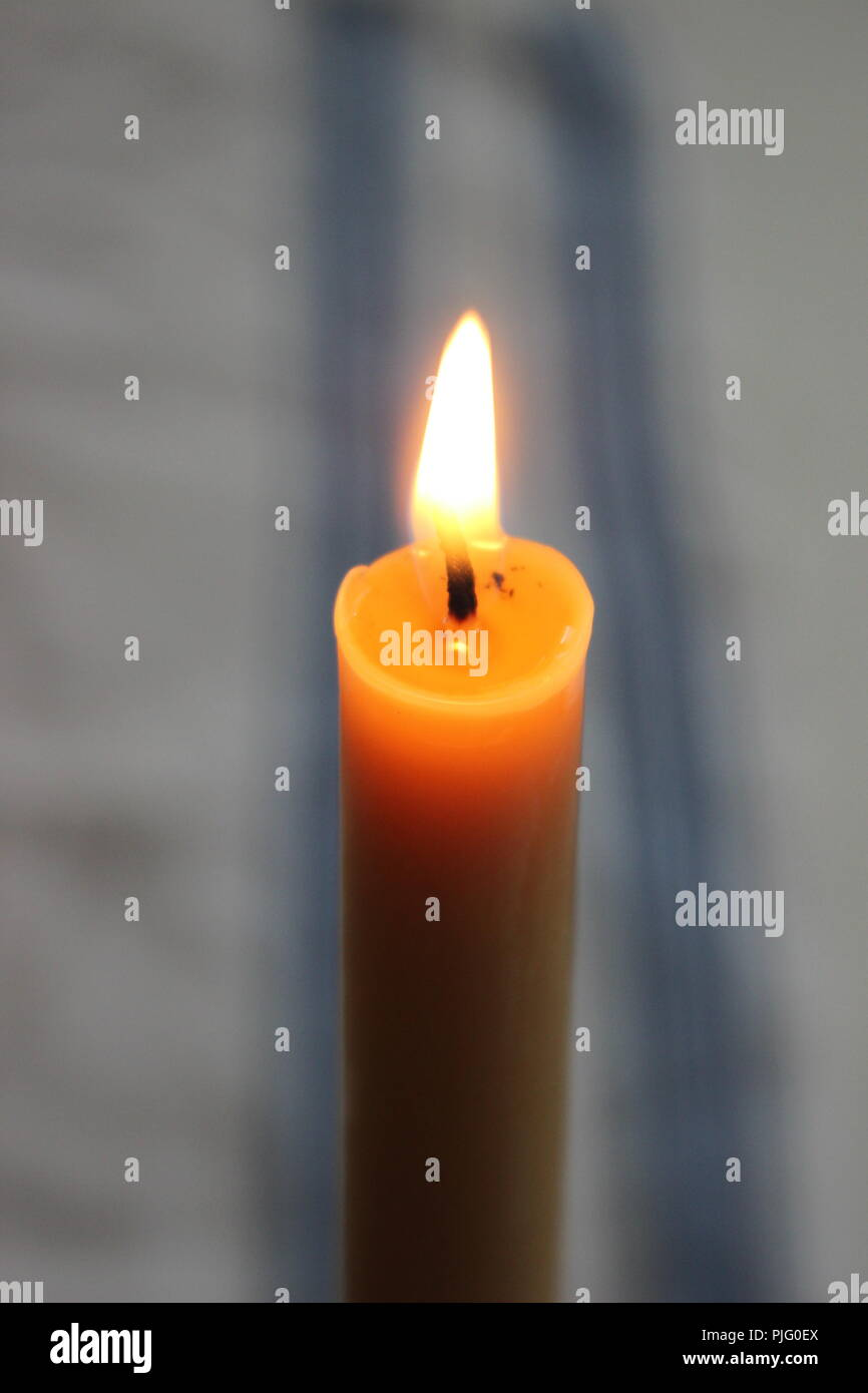 Burning beeswax candle - Stock Image