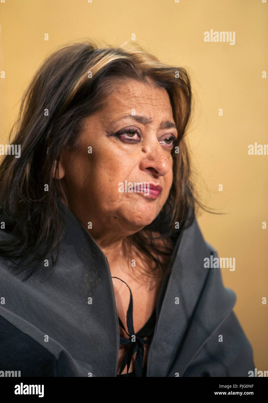 British architect Zaha Hadid speaks during a media event formally announcing the winners of the Praemium Imperiale, a global arts prize that is awarde Stock Photo
