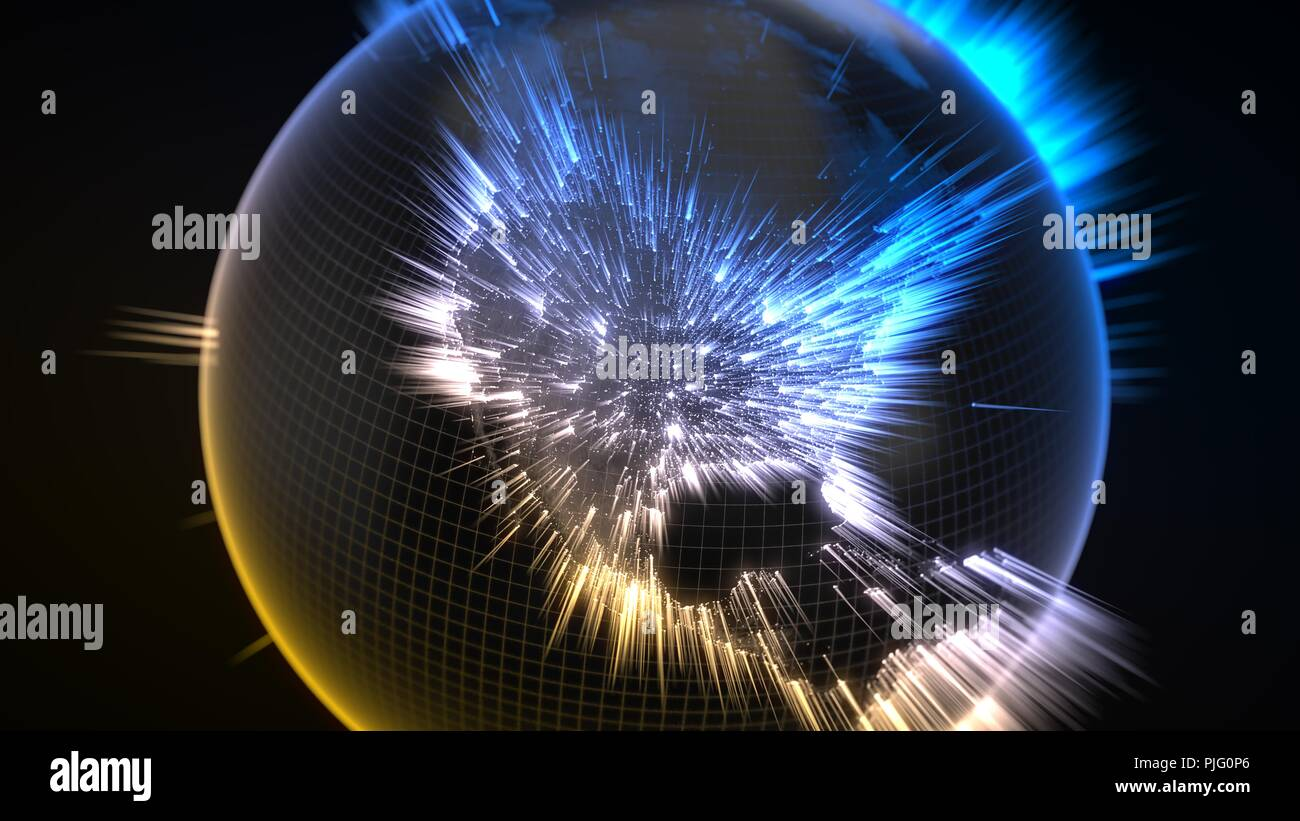 dark earth globe with glowing details and light rays from human population and cities. view of america. suitable for technology, future and science th - Stock Image
