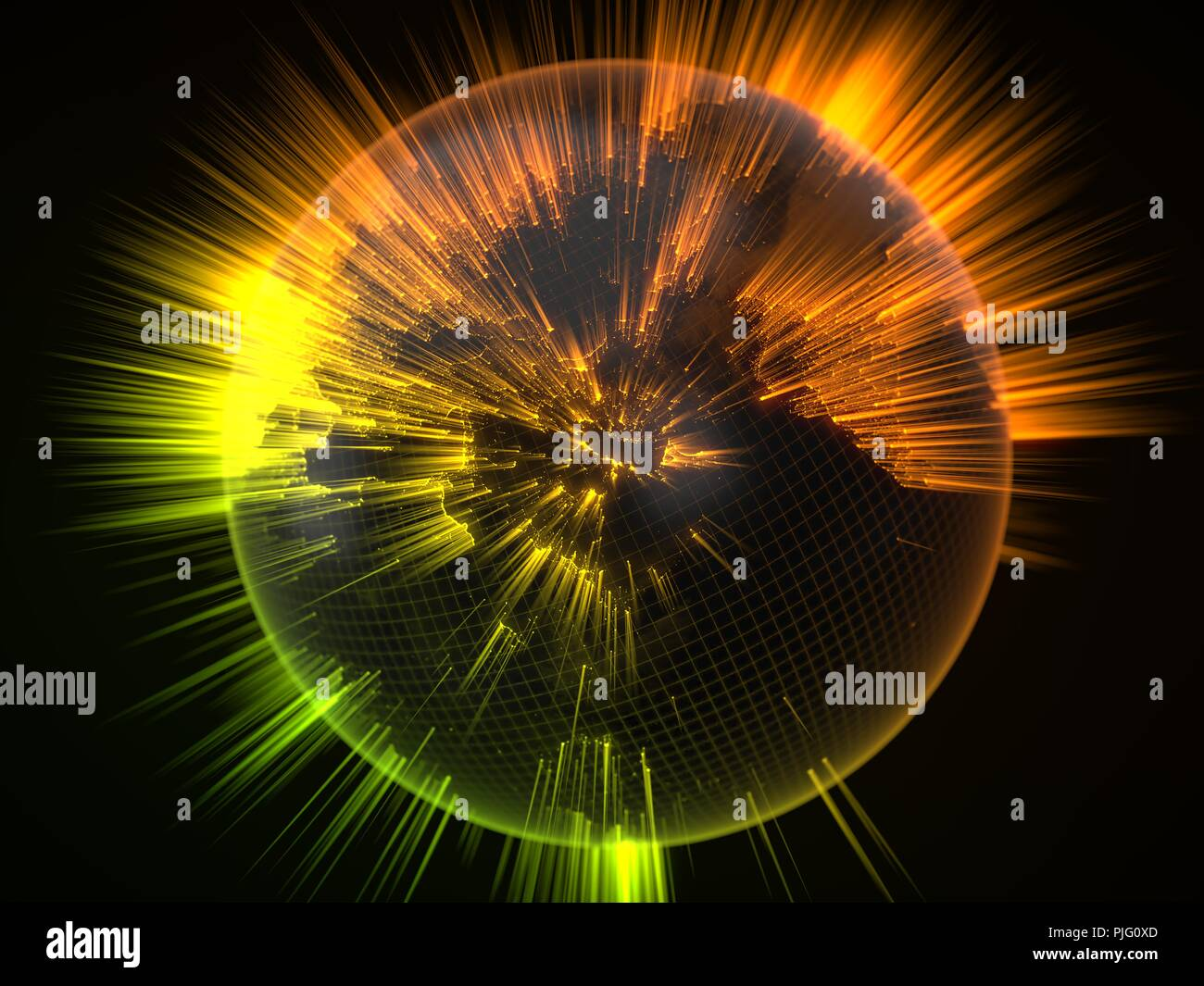 dark earth globe with glowing details and light rays. 3d illustration - Stock Image