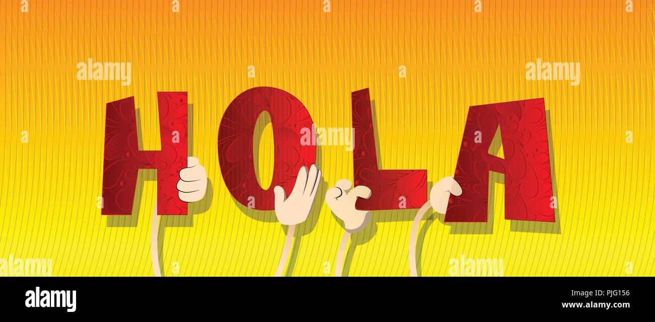 Diverse hands holding letters of the alphabet created the word Hola ...