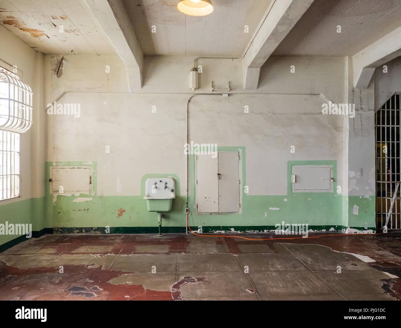 Dining hall of Alcatraz Federal Penitentiary , San Francisco Bay, California, USA. - Stock Image