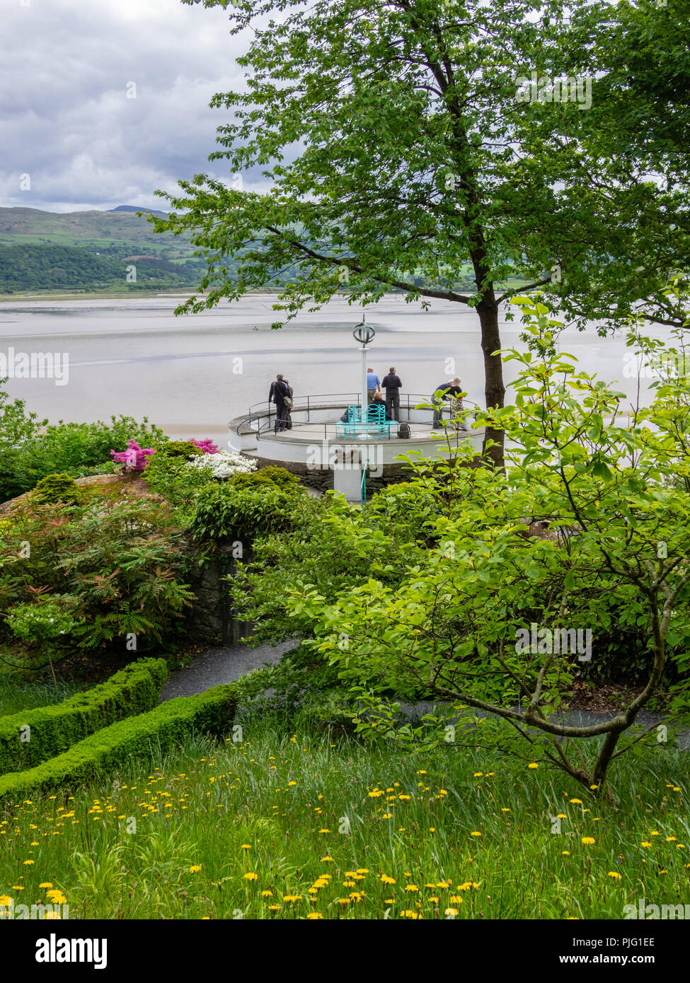 Portmeirion garden path leading to a deck with a view of River Dwyryd, North Wales, UK. Stock Photo