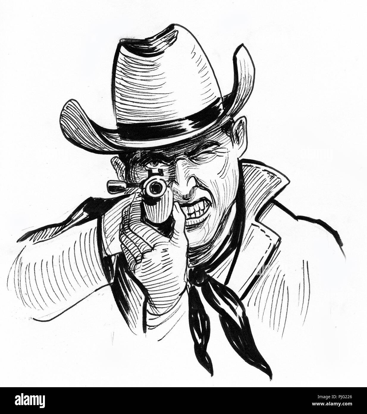 Pointing Gun Drawing