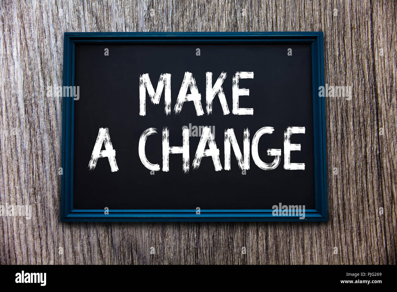 Handwriting text Make A Change. Concept meaning Create a Difference Alteration Have an Effect Metamorphose. - Stock Image