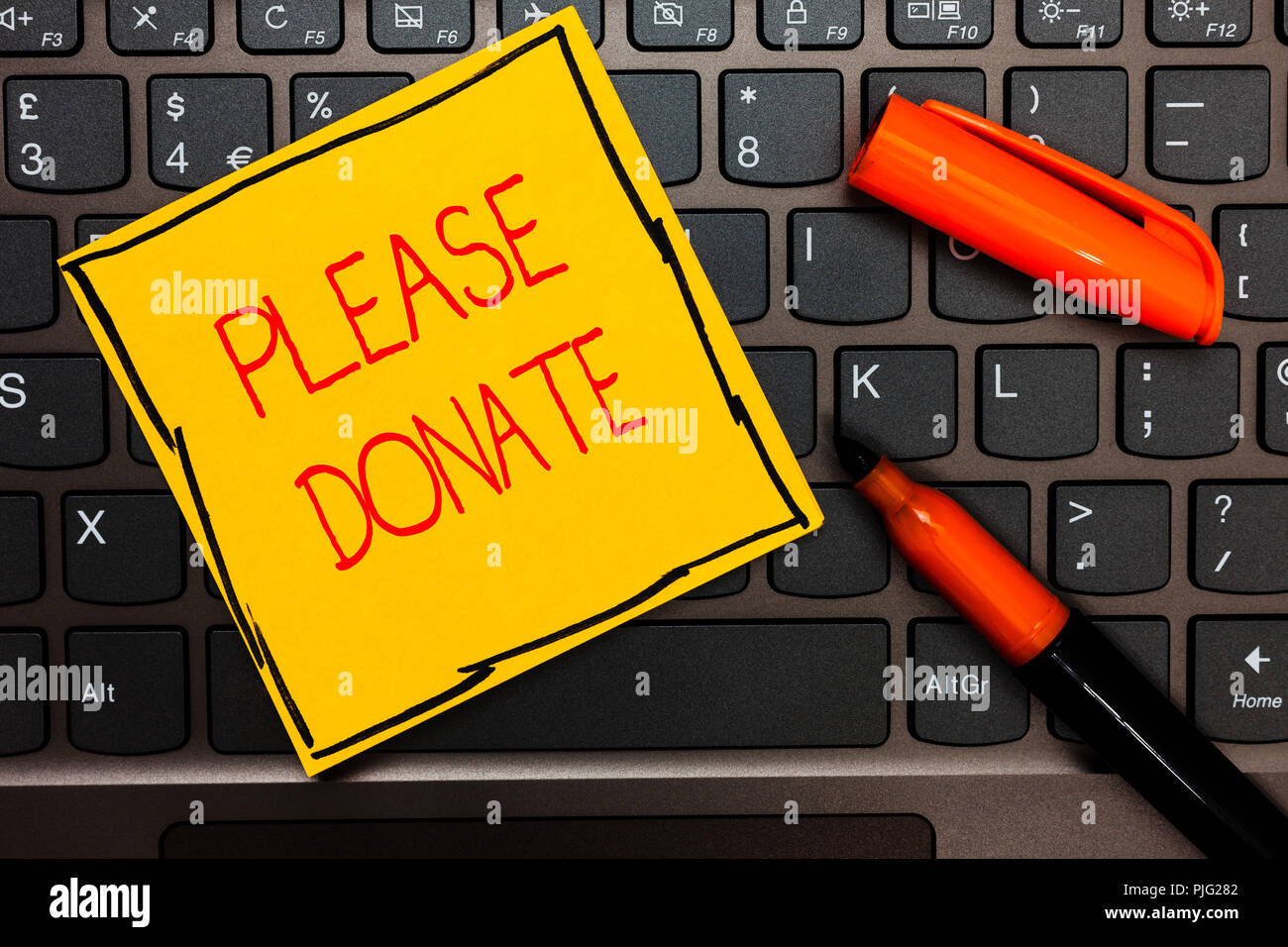 Writing note showing Please Donate. Business photo showcasing Supply Furnish Hand out Contribute Grant Aid to Charity Yellow paper keyboard Inspiratio - Stock Image