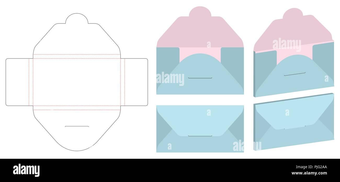 envelope die cut mock up template vector stock vector art