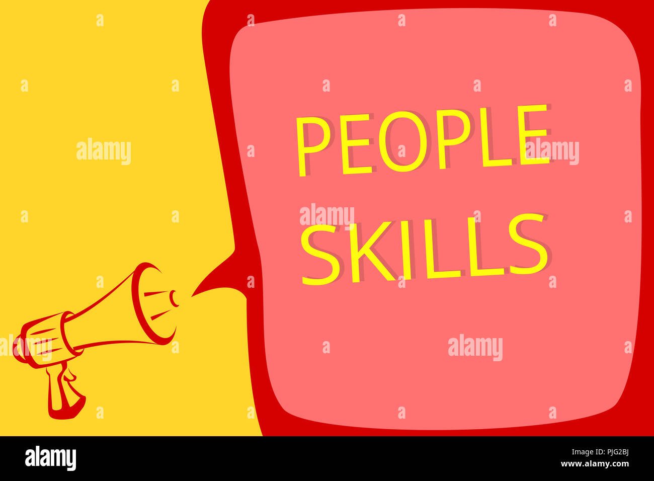 Writing note showing People Skills. Business photo showcasing Get Along well Effective Communication Rapport Approachable Megaphone loudspeaker speech - Stock Image