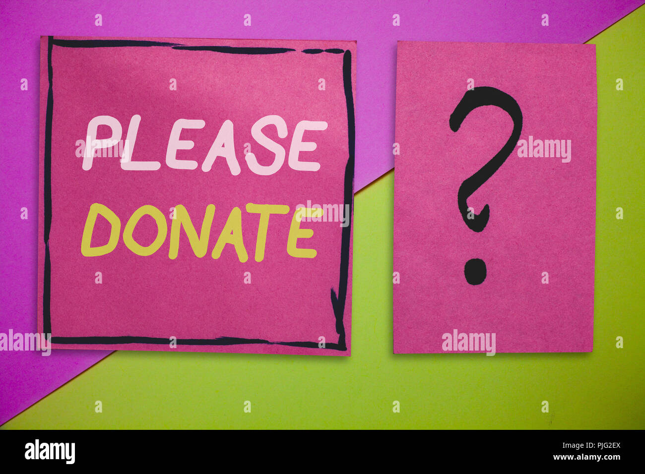 Writing note showing Please Donate. Business photo showcasing Supply Furnish Hand out Contribute Grant Aid to Charity. - Stock Image