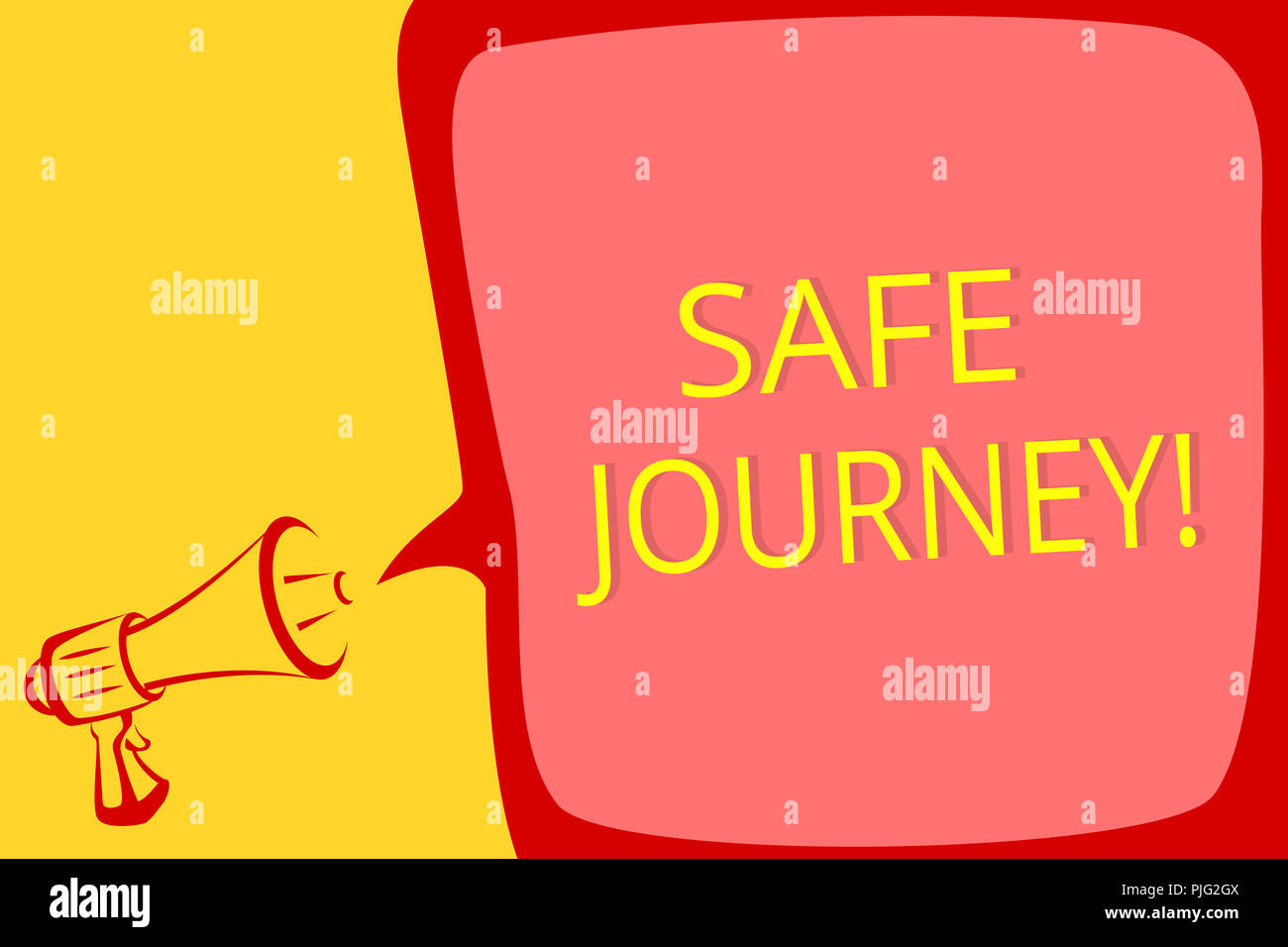 Writing Note Showing Safe Journey Business Photo Showcasing Blessing Bid Farewell Drive Carefully Use Seatbelt Strap Megaphone Loudspeaker Speech Bub Stock Photo Alamy