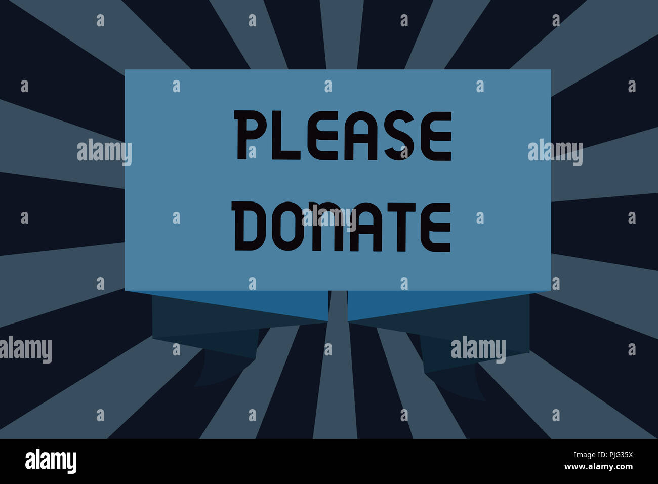 Text sign showing Please Donate. Conceptual photo Supply Furnish Hand out Contribute Grant Aid to Charity. - Stock Image