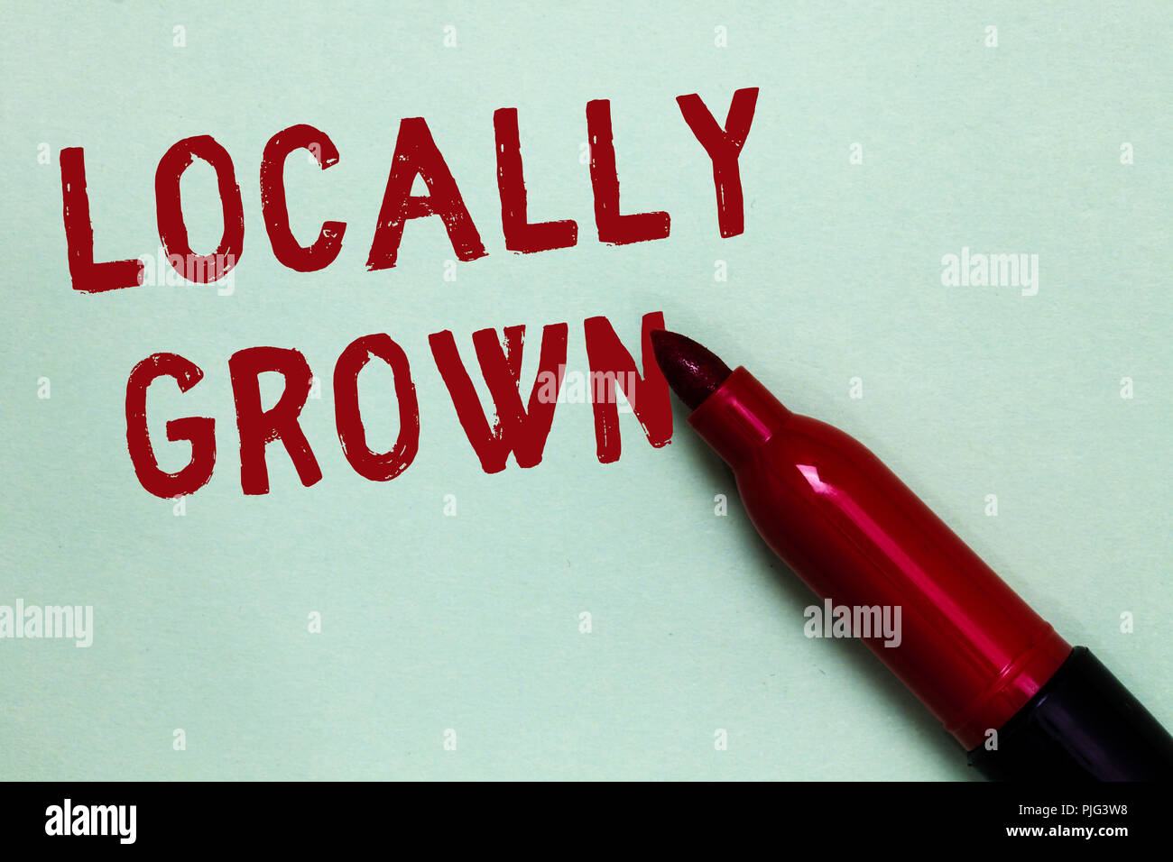 Handwriting text Locally Grown. Concept meaning Produced Agricultural Countryside Fresh Vegetables Open red marker intention communicating message ide - Stock Image