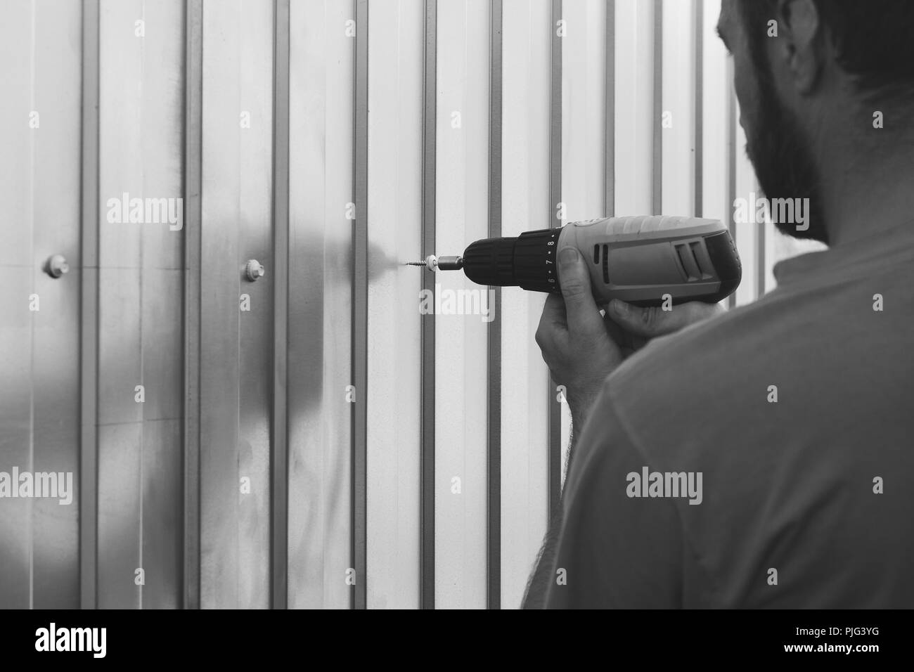 a bearded man with a screwdriver in his hands is screwed with self-tapping sheets of metal profile, selective focus black and white photo - Stock Image