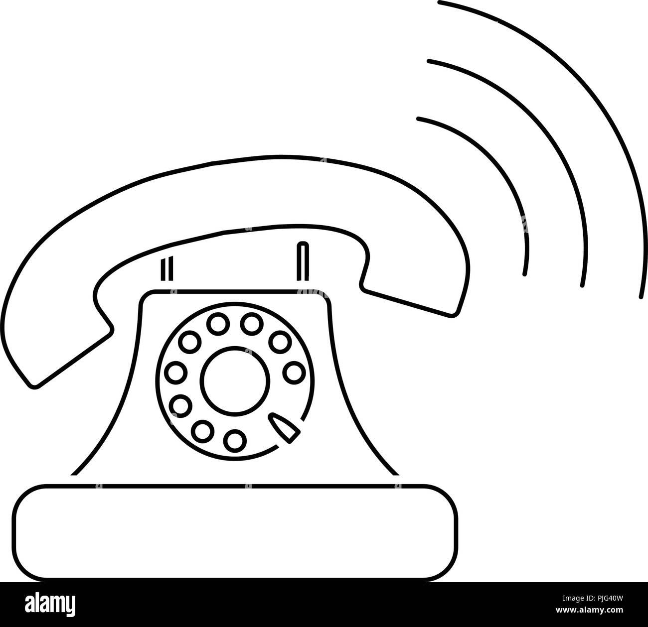 Old telephone icon  Thin line design  Vector illustration