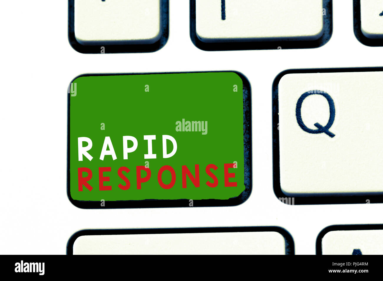 Text sign showing Rapid Response. Conceptual photo Medical emergency team Quick assistance during disaster. - Stock Image
