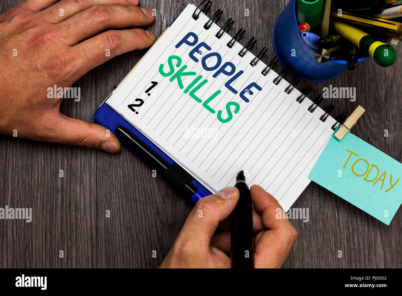 Conceptual hand writing showing People Skills. Business photo showcasing Get Along well Effective Communication Rapport Approachable Man holding marke - Stock Image