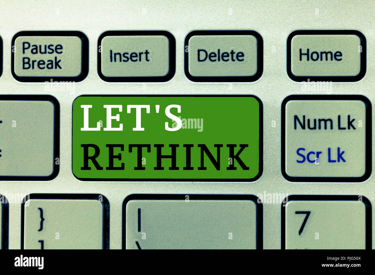 Word writing text Let s is Rethink. Business concept for an Afterthought To Remember Reconsider Reevaluate. - Stock Image