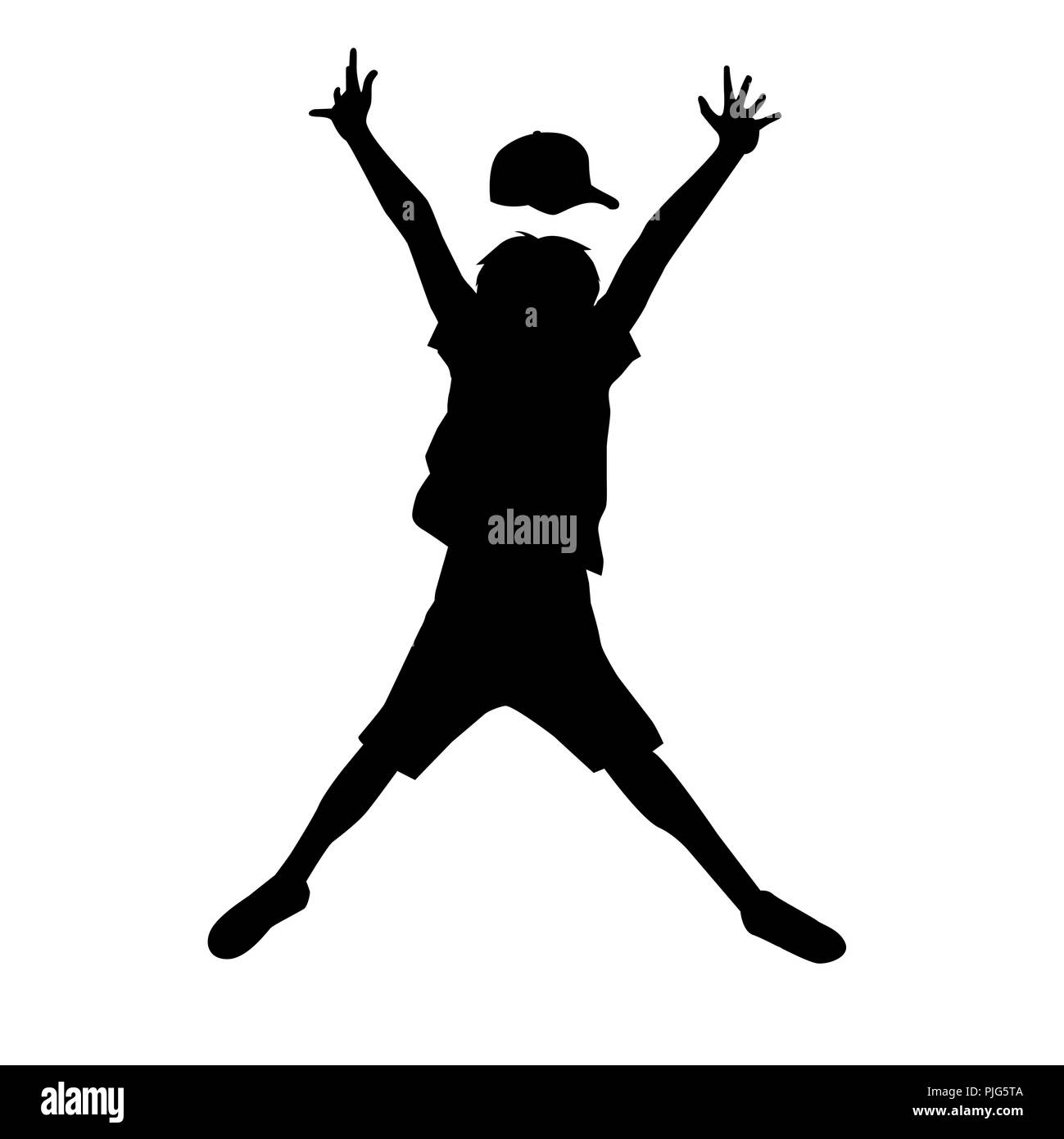 61d2f7e3f18e Boy Silhouette Jumping Joy Vector Black and White Stock Photos ...
