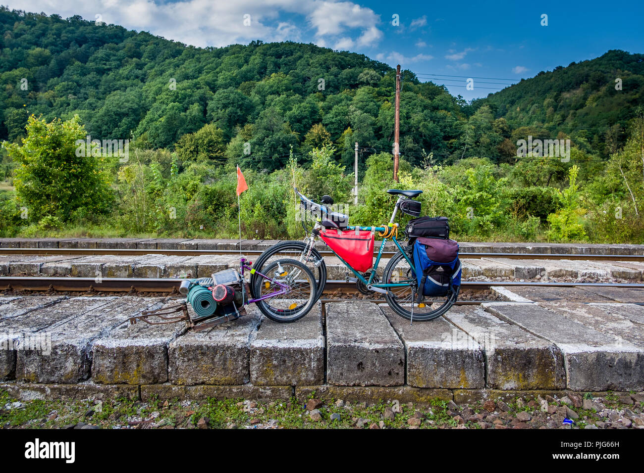 Adventure and Ecotourist by bicycle, Podu Olt, Romania, Europe. - Stock Image