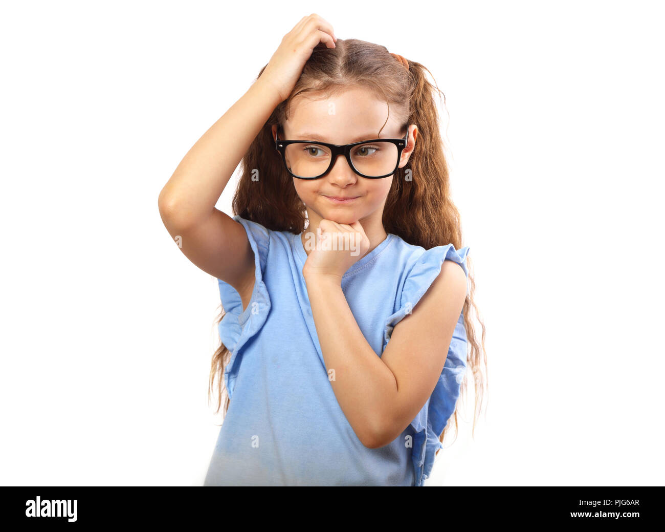d38152c1d Fun serious kid girl in eye glasses thinking and scratch the head ...