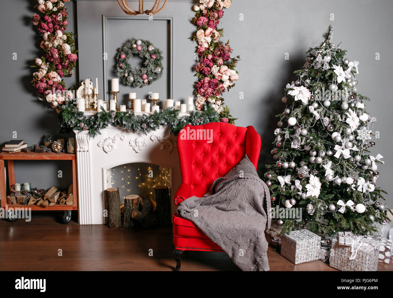 Merry Christmas and Happy Holidays. Beautiful holiday decorated room ...