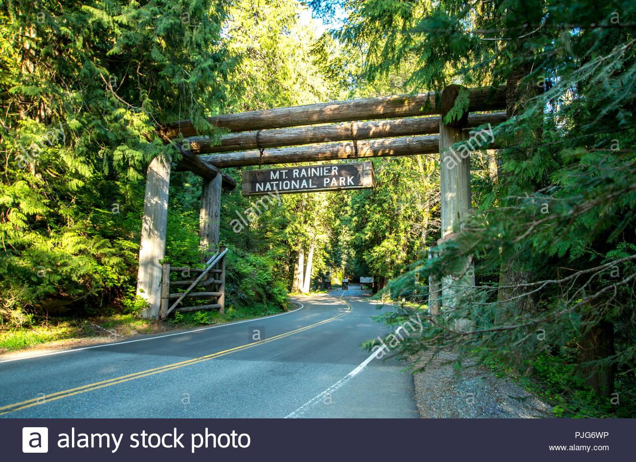 Mt. Rainier National Park Entrance - Stock Image