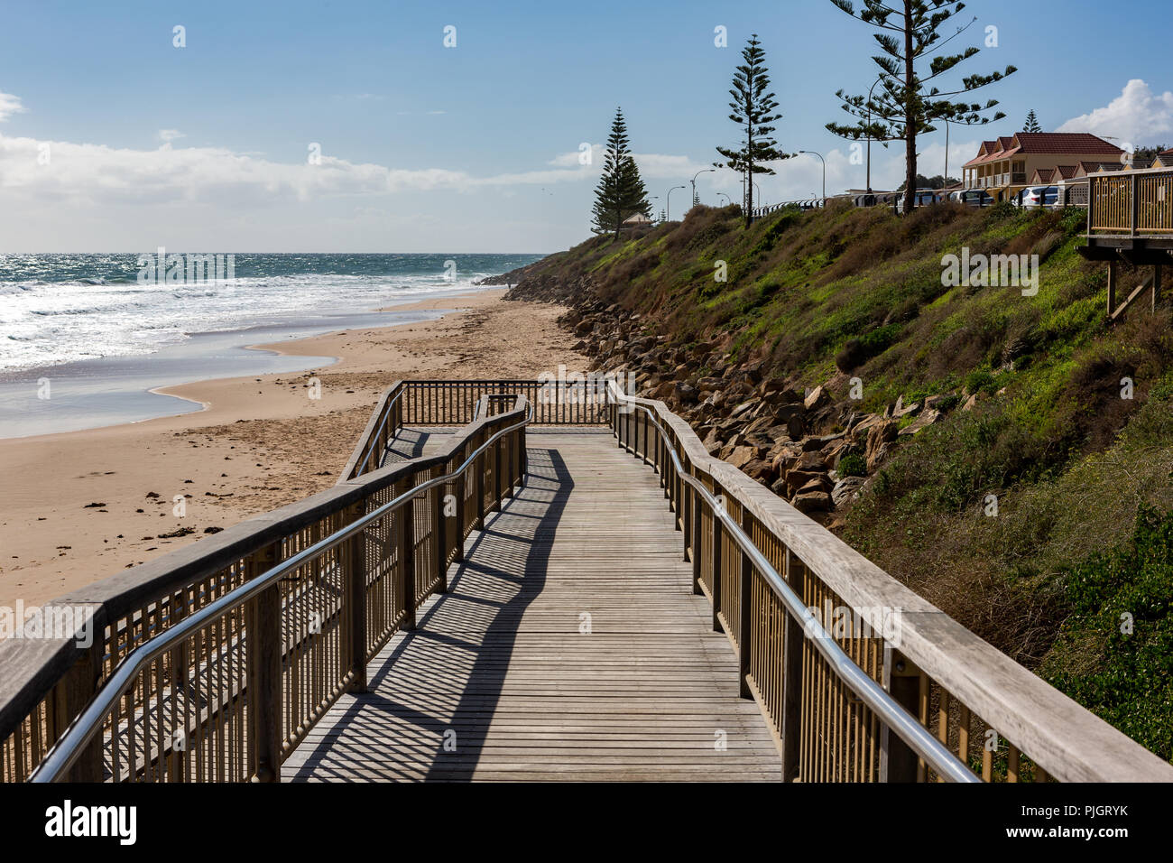 The beach access ramp on to the sand at Christies Beach South Australia on 6th September 2018 - Stock Image
