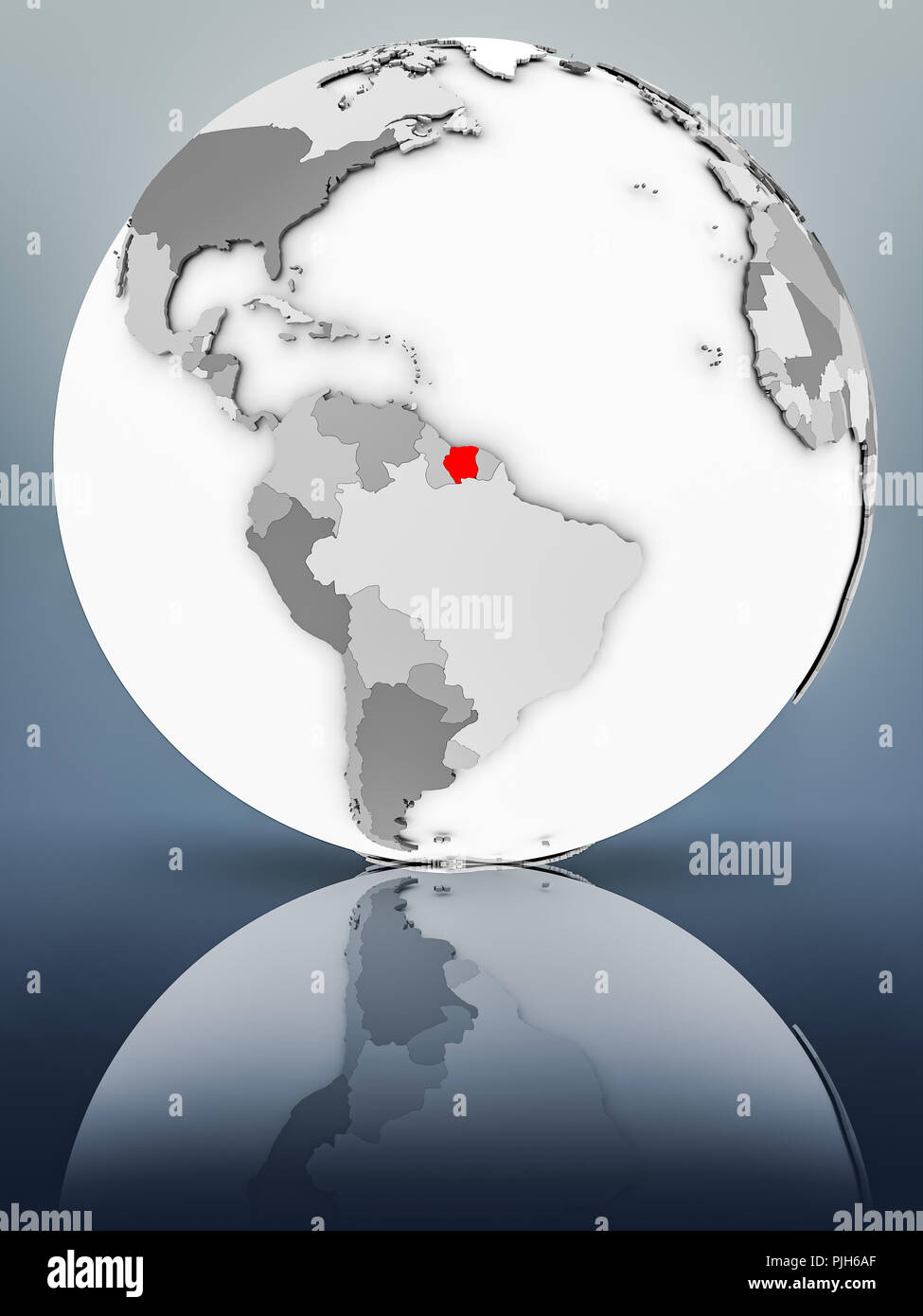 Suriname on simple gray globe on shiny surface. 3D illustration. - Stock Image