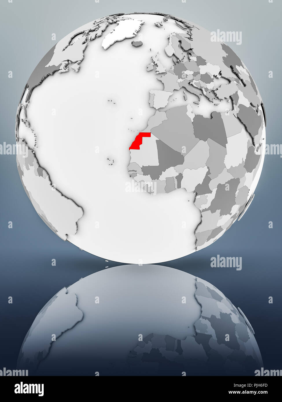 Western Sahara on simple gray globe on shiny surface. 3D illustration. - Stock Image