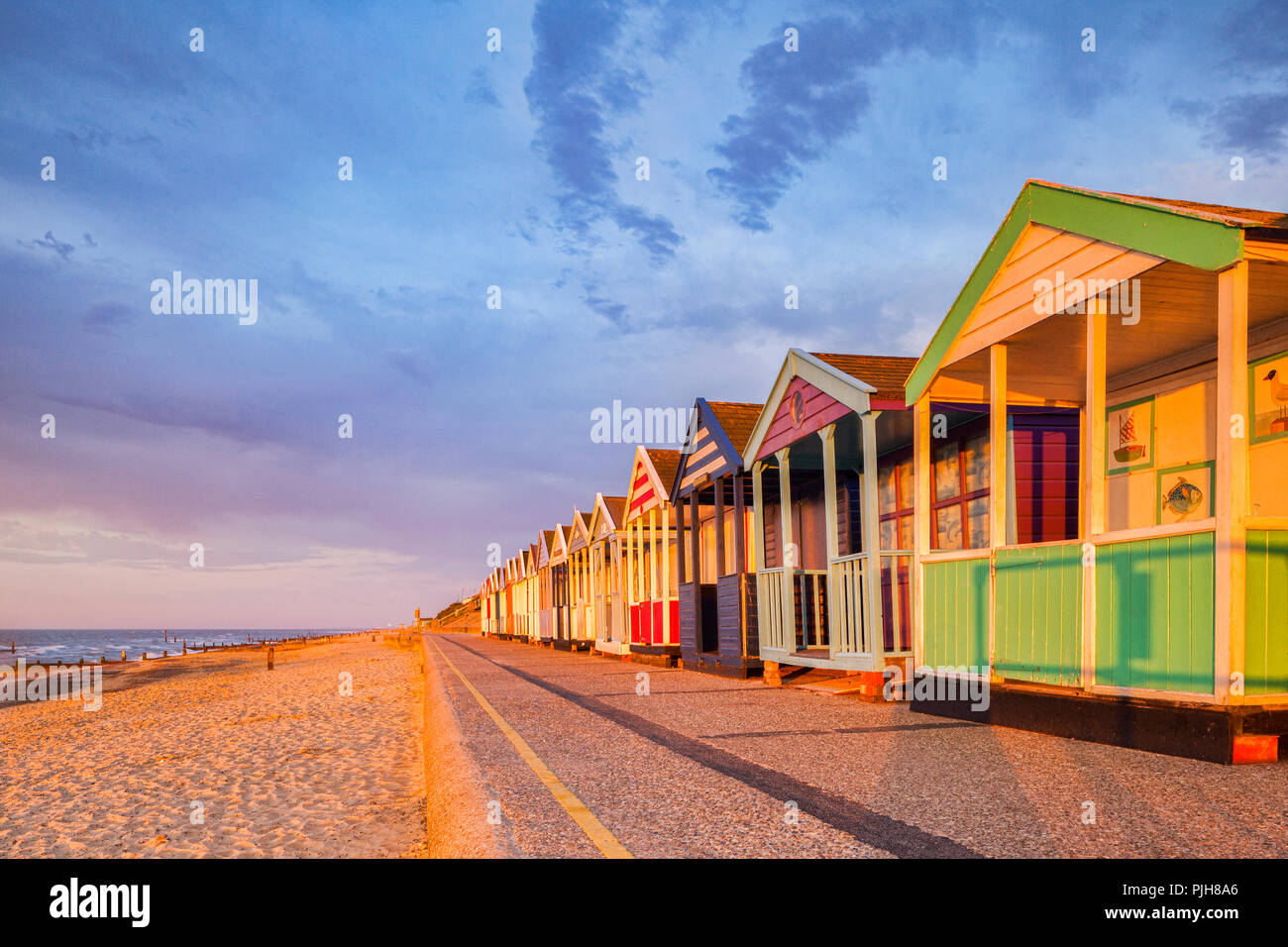 Beach huts in early morning light at Southwold, Suffolk. Stock Photo