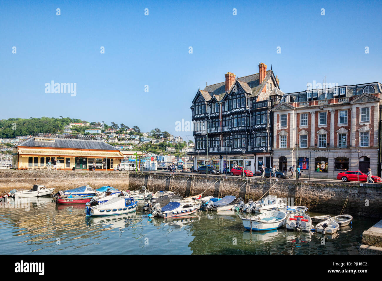 23 May 2018: Dartmouth, Devon, UK - York House and the Boat Float, or inner harbour. - Stock Image