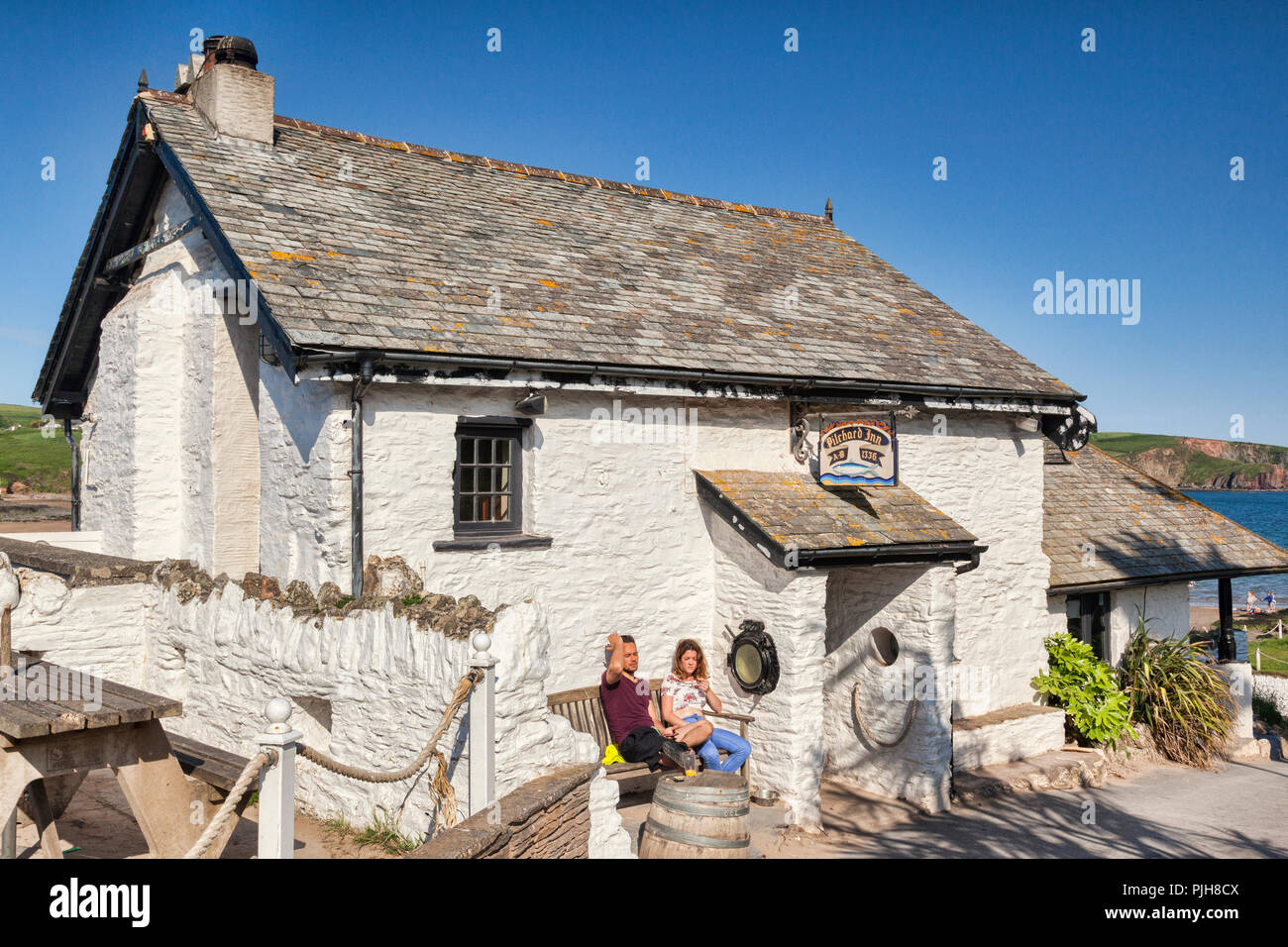 3 June 2018: Burgh Island, Bigbury on Sea, Devon UK - The Pilchard Inn, established 1336. - Stock Image