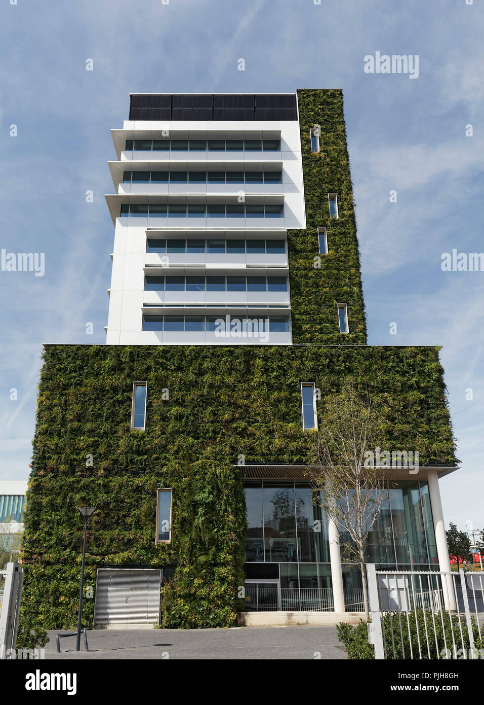 Public building with planted facade, ecological construction, New Town Hall, Venlo, Limburg, Netherlands - Stock Image