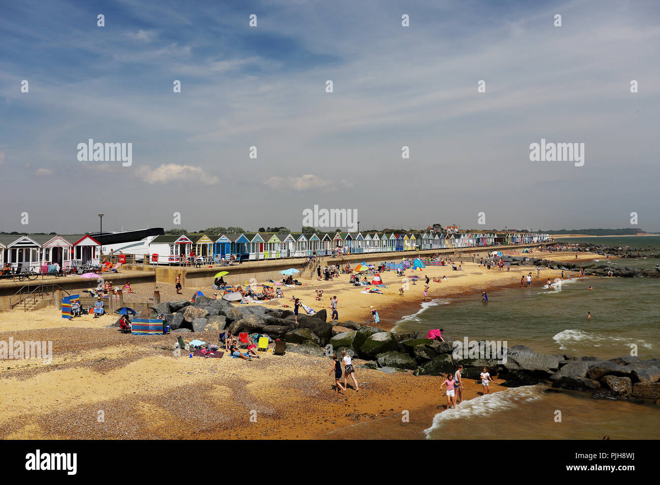 The beach at Southwold, Suffolk, UK seen from the pier. - Stock Image