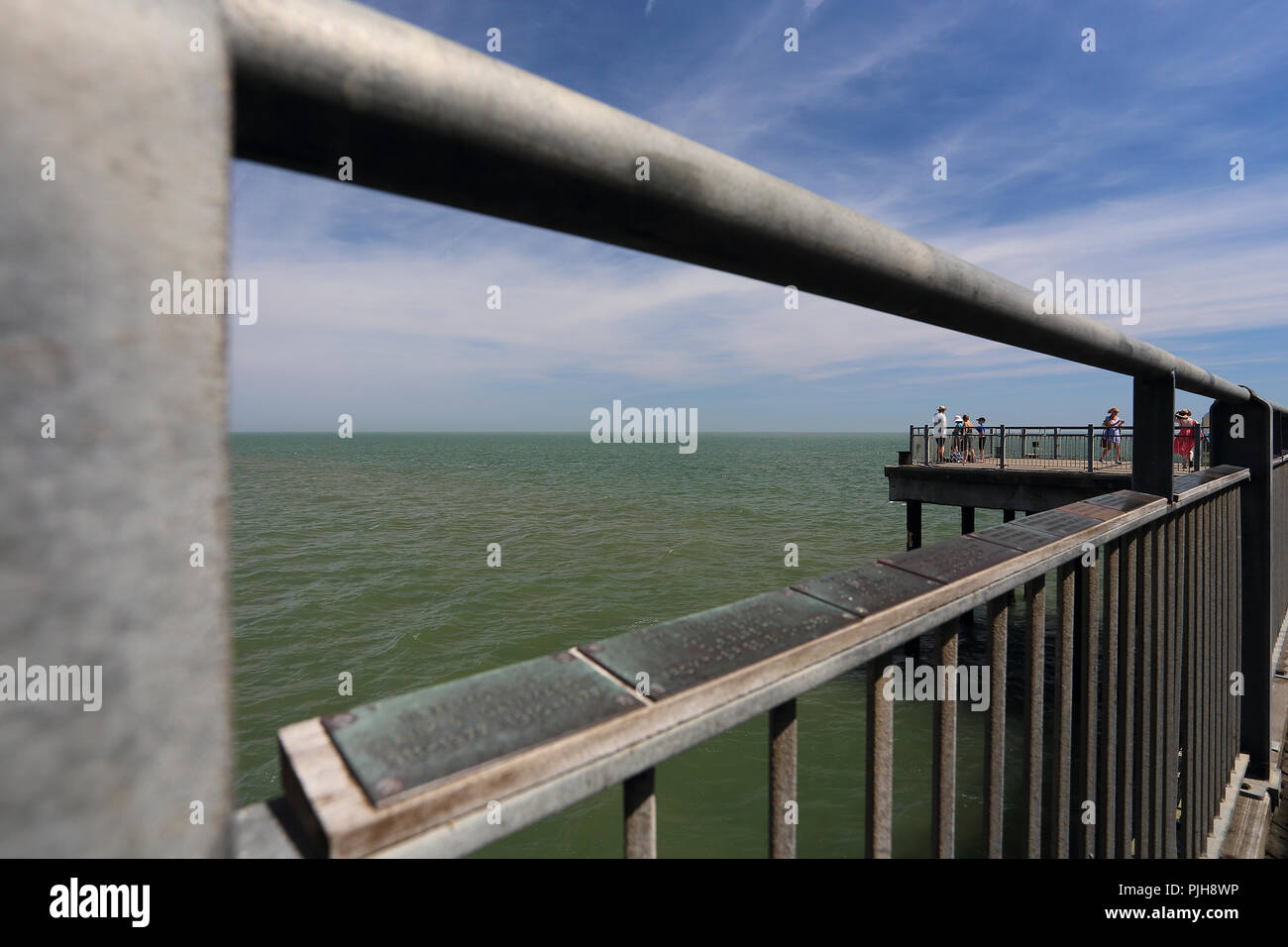 Looking out over the North Sea from the pier at Southwold, Suffolk UK. - Stock Image