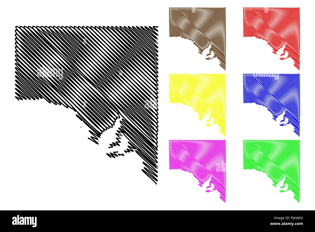 South Australia (Australian states and territories, SA) map vector illustration, scribble sketch South Australia map - Stock Image