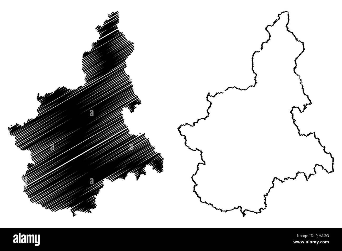 Piedmont Autonomous Region Of Italy Map Vector Illustration