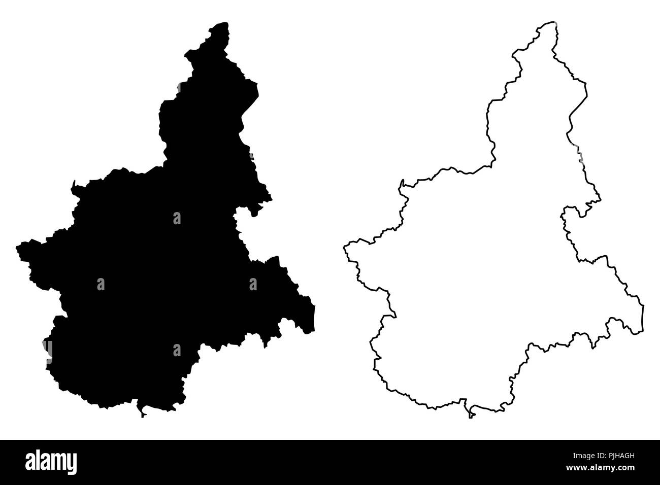 Cartina Muta Piemonte.Piedmont Autonomous Region Of Italy Map Vector