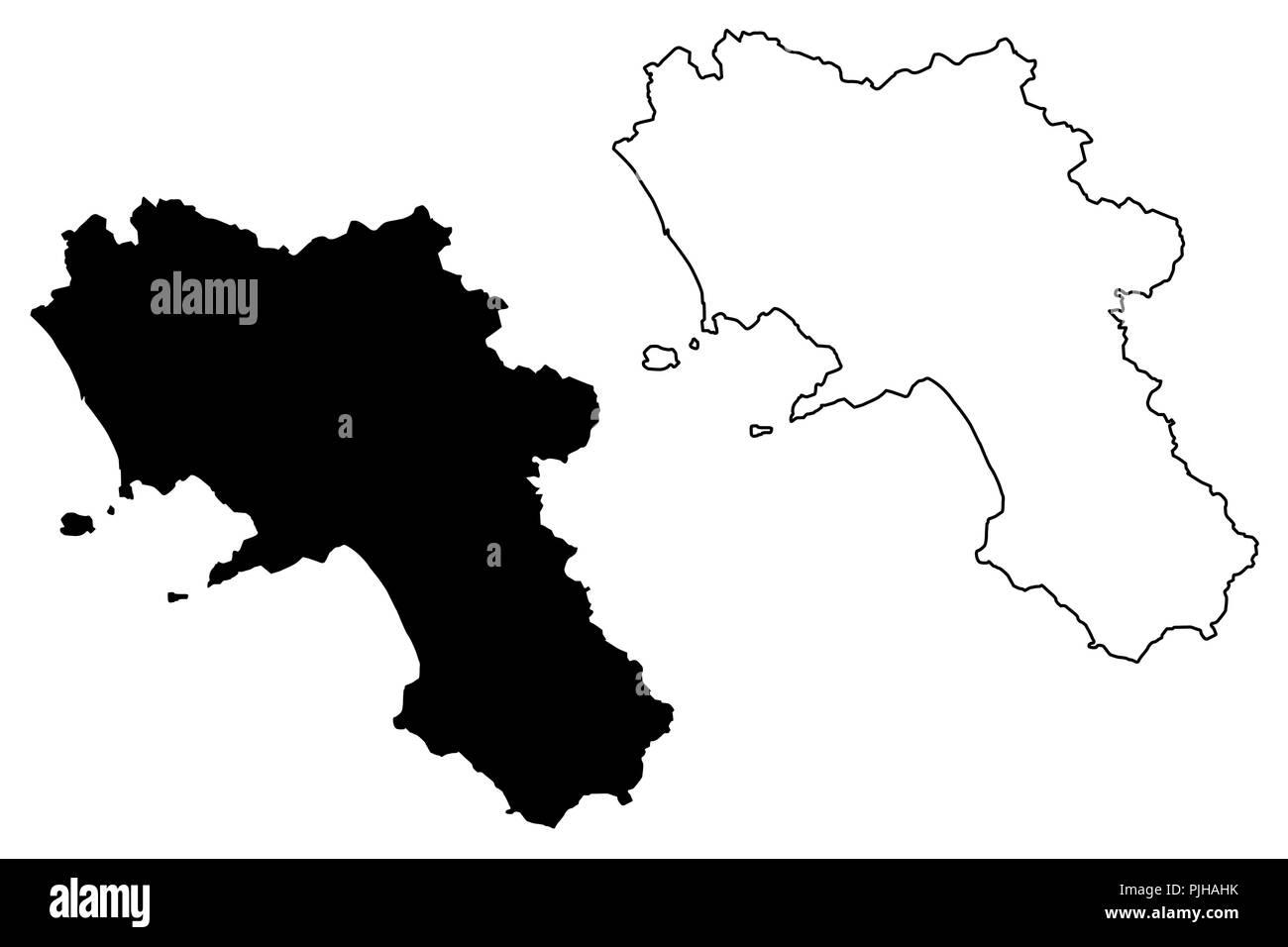 Campania (Autonomous region of Italy) map vector illustration ...